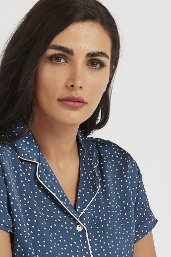 Sustainable Spot Print Collared Shirt and Full Length Pyjama Set