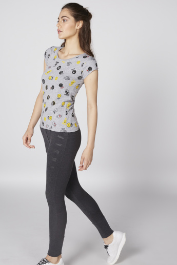 Smiley World Printed T-Shirt with Round Neck and Cap Sleeves