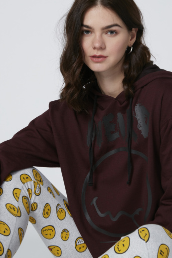 Smiley World Printed Oversized Sweatshirt with Tape Detail and Hood