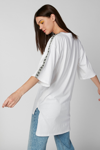 Smiley World Tape Detail T-shirt with High Low Hem