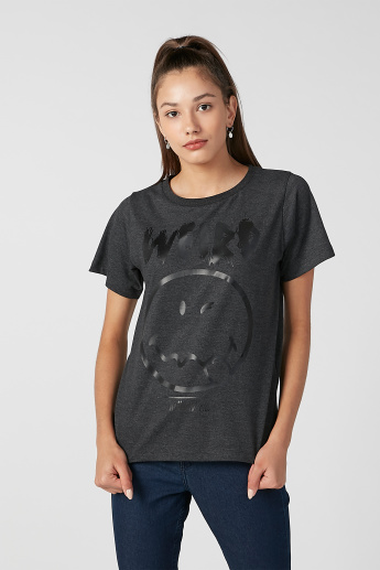 Sustainable Smiley World Printed T-shirt with Round Neck