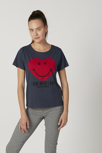 Sustainability Smiley World Printed T-shirt with Round Neck