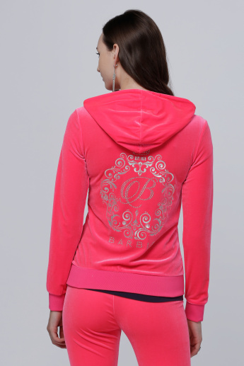 Barbie Printed Jacket with Long Sleeves and Hood
