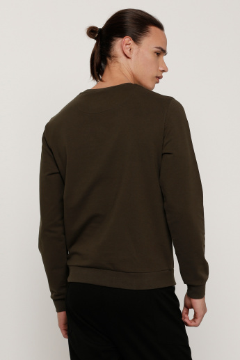 Embellished Sweatshirt with Round Neck and Long Sleeves