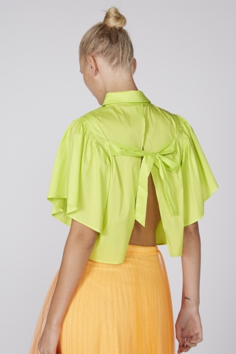 Back Slit Top with Ruffle Sleeves