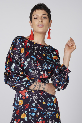Printed Round Neck Jumpsuit with 3/4 Length Sleeves