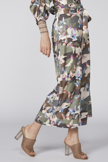 Printed Culottes with Tie-Up Belt Detail