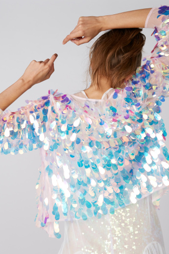 Sequin Detail Open Front Shrug with 3/4 Sleeves