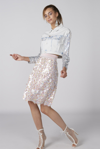 Sequin Detail Midi Skirt with Elasticised Waistband