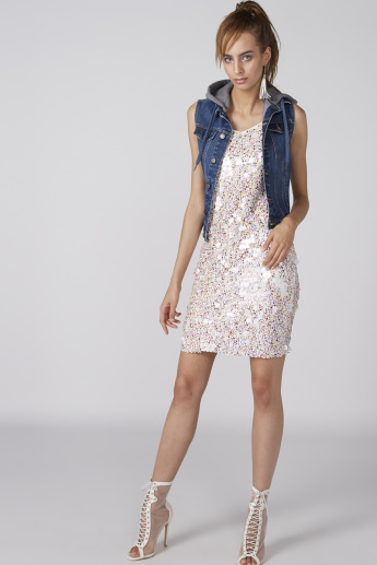 Sequin Detail Bodycon Mini Dress with Textured Straps