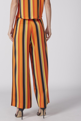 Striped Full Length Palazzos with Elasticised Waistband