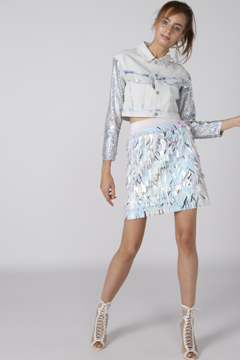 Sequin Detail Mini Skirt with Elasticised Waistband