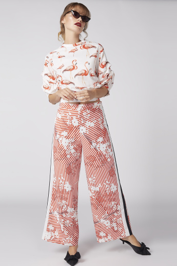 Flamingo Printed Top with Zip Closure and Tie Ups