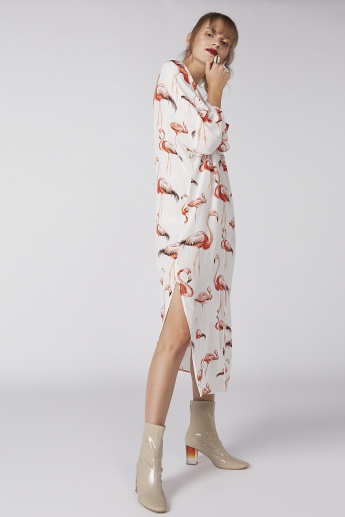 Flamingo Printed Dress with Long Sleeves and Slits