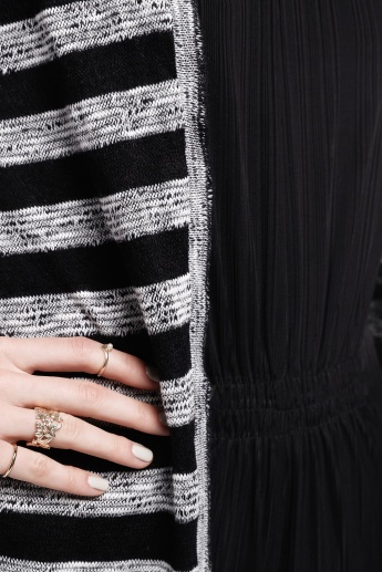 Striped Cardigan with Long Sleeves and Open Front