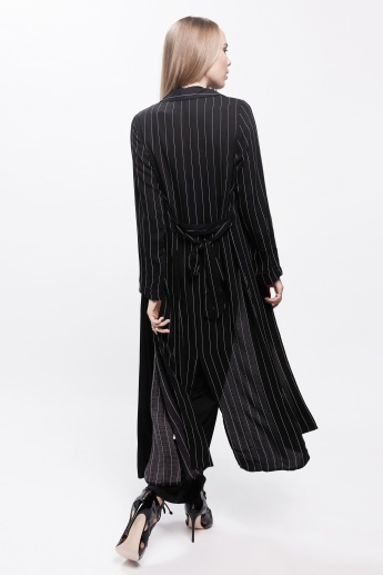 Striped Trench Coat with Tie-Up Back and Long Sleeves