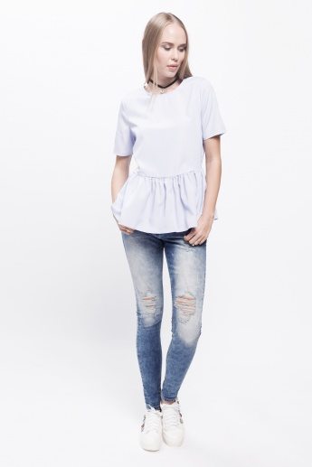 Round Neck Top with Short Sleeves and Tie-Up Back