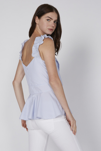 Chequered Sleeveless Top with Tie Up Detail