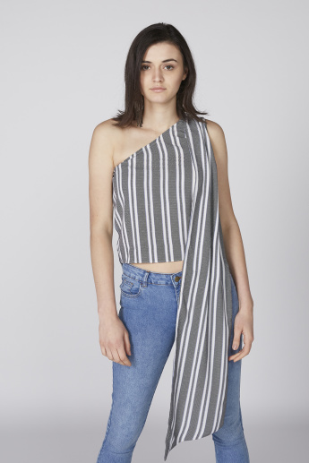 Striped One Shoulder Top with Cascading Detail