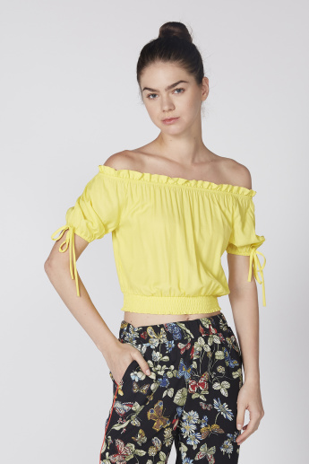 Off Shoulder Crop Top with Tie-Up Detail on Sleeves