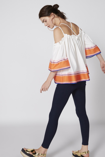 Printed Top with Spaghetti Straps and Flared Sleeves