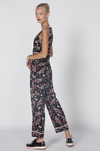 Printed Full Length Sleeveless Jumpsuit with Round Neck