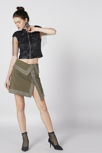 Studded Skirt with Asymmetric Hem and Zip Closure