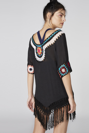 Textured Top with Short Sleeves and Tassels