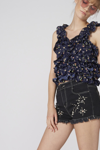 Denim Shorts with Button Closure and Embellishement