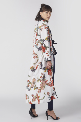 Floral Printed Longline Open Front Shrug with Long Sleeves
