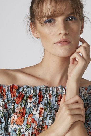 Floral Printed Off Shoulder Top with Pleats