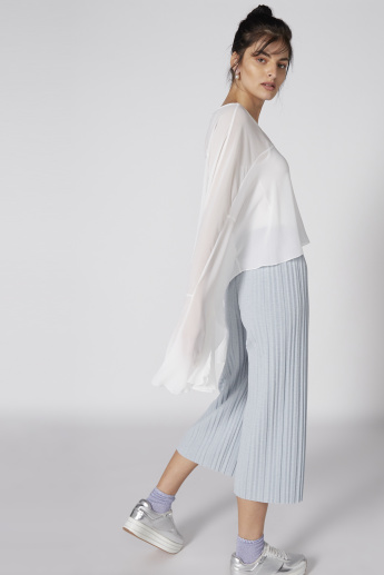 Boat Neck Top with Flared Sleeves