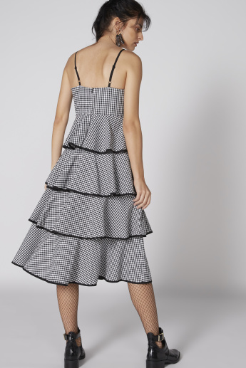 Chequered Midi Dress with Spaghetti Straps