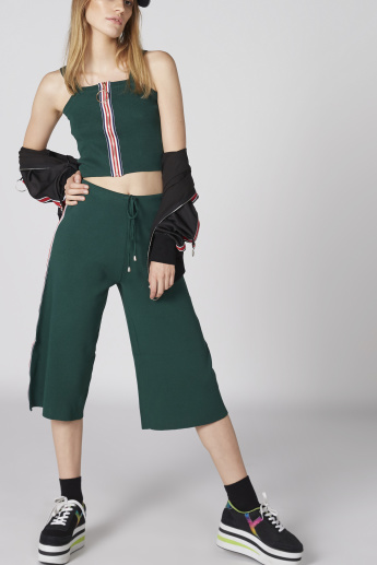 Tape Detail Culottes with Elasticised Waistband and Drawstring