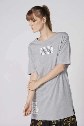 Printed Longline T-Shirt with Short Sleeves
