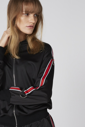 Long Sleeves Bomber Jacket with Tape Detail and Zip Closure