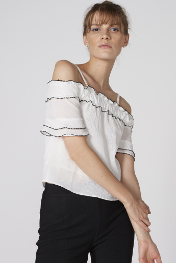 Textured Off-Shoulder Top with Short Sleeves and Ruffle Detail