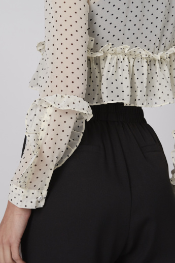 Polka Dot Printed Crop Top with Long Sleeves and Ruffle Detail