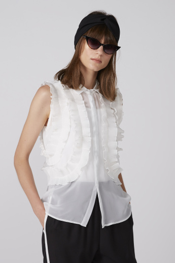 Ruffle Detail Sleeveless Shirt with Concealed Placket