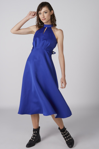 A-Line Midi Dress with Tie Up Belt and Zip Closure
