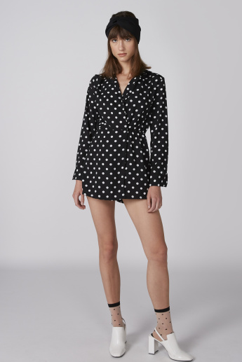 Polka Dot Printed Playsuit with Long Sleeves
