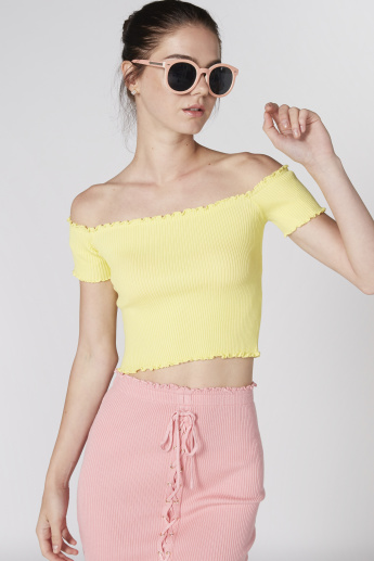 Off Shoulder Crop Top with Ribbed Detail