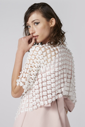 Embellished Cropped Open Front Shrug with Short Sleeves