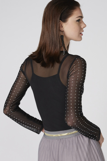 Embellished Bodysuit with Round Neck and Long Sleeves