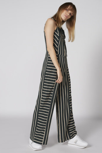 Striped Sleeveless Jumpsuit with Halter Neck and Pussy Bow Detail
