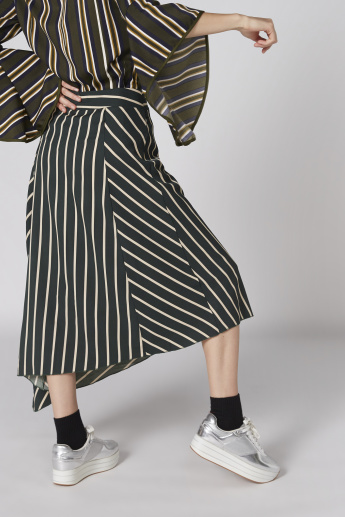 Striped Asymmetric Skirt with Elasticised Waistband