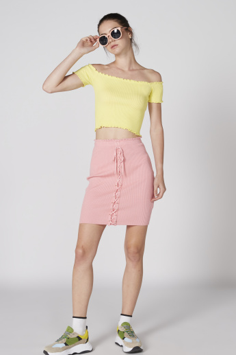 Ribbed Mini Pencil Skirt with Lace-Up Detail