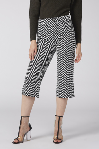 Printed Cropped Trousers with Button Closure