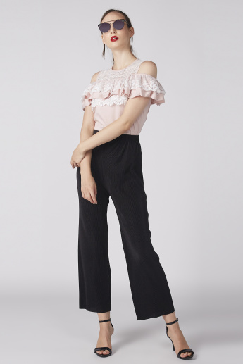 Cold Shoulder Round Neck Top with Ruffle and Lace Detail