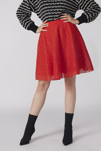 Lace Skater Skirt with Zip Closure